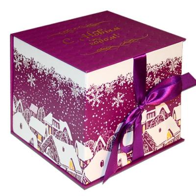 """Подарочная складная коробка """"Куб фиолетовый"""" 1300  гр, новогодняя упаковка"""