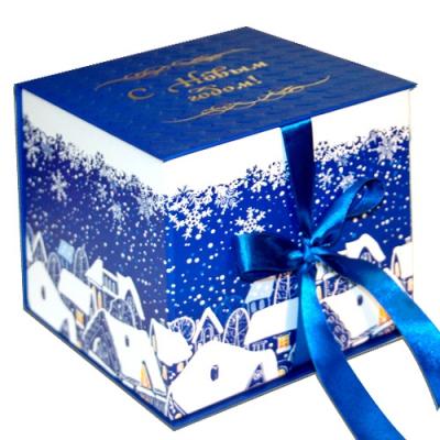 """Подарочная складная коробка """"Куб синий"""" 1300 гр, новогодняя упаковка для конфет"""