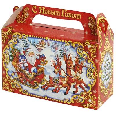 Новогодняя упаковка «Сани 0.5» 500 гр, картонная подарочная коробка