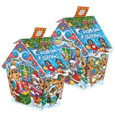 Новогодняя подарочная коробка «Лесная избушка» 500 гр, новогодняя упаковка