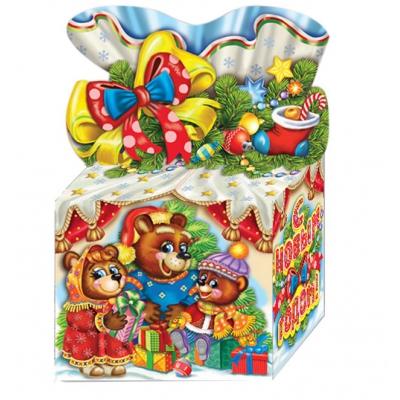 Новогодняя упаковка «Три медведя» 800 гр,  картонная подарочная коробка для конфет