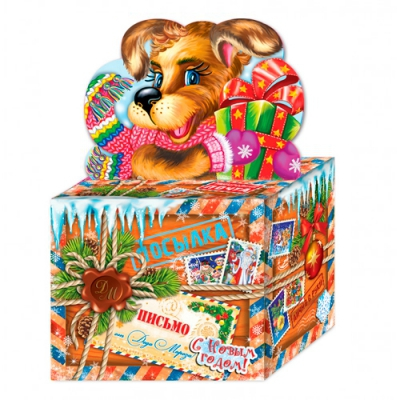 Новогодняя упаковка «Посылка» 800 гр, картонная подарочная коробка для конфет