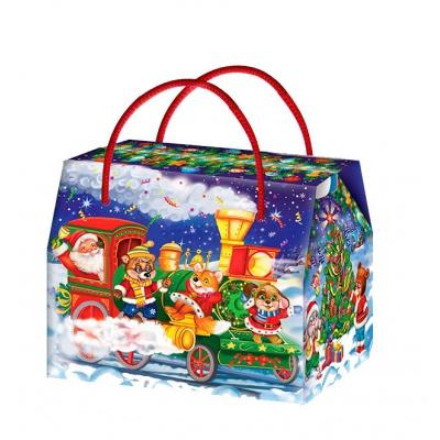 Новогодняя упаковка «Паровозик» 800 гр, картонная подарочная коробка для конфет