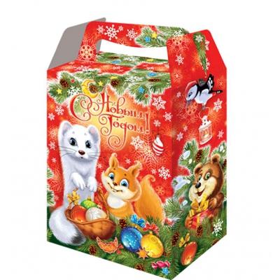 Новогодняя упаковка «Пушистики» 1000 гр, картонная подарочная коробка