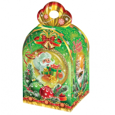 Новогодняя подарочная коробка «НГ Презент» 1000 гр, новогодняя упаковка оптом