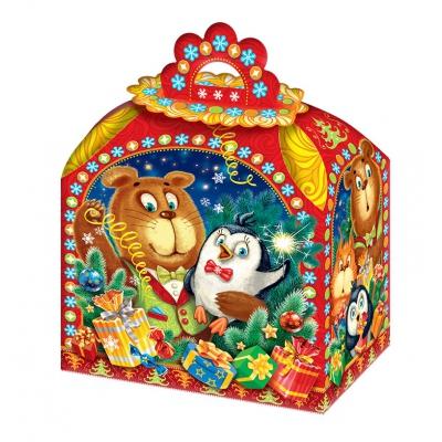 Новогодняя подарочная коробка «Гости» 1200 гр, новогодняя упаковка оптом