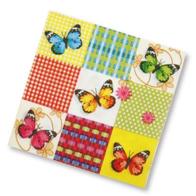 "Салфетки бумажные 2сл., 33х33, ""Бабочки на клетке"", 20шт."