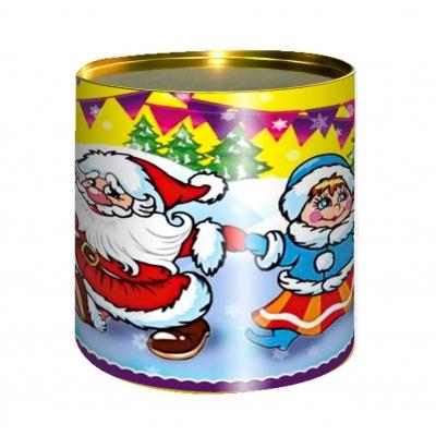 Подарочные картонные тубы «Веселый Хоровод» 500 гр, новогодняя упаковка