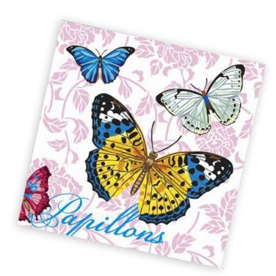 """Салфетки бумажные 1сл., 25х25, """"Бабочки и цветы"""", 40шт."""