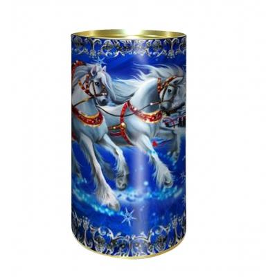 """Подарочные картонные тубы """"Кони"""" 1000 гр, новогодняя упаковка"""