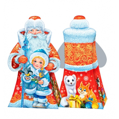 Новогодняя подарочная коробка «Дед Мороз и внучка» 800 гр, новогодняя упаковка