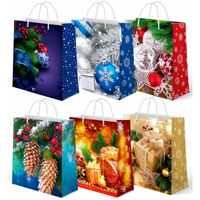 """Бумажные подарочные пакеты """"Новогодний Микс №1"""", M, новогодние с веревочными ручками"""
