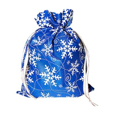 Подарочный мешок «Снежинки» синий 1300 гр, для подарков, конфет