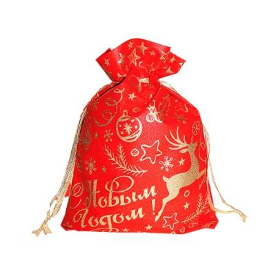 Подарочный мешок ОЛЕНЬ красный, для упаковки подарков