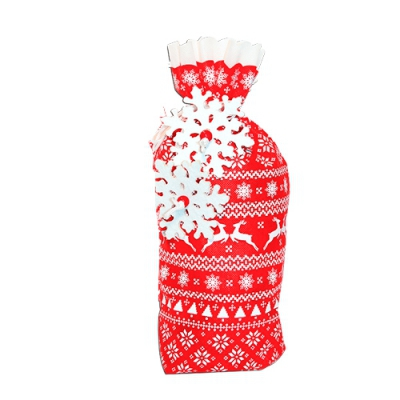 Подарочный мешок СКАНДИ красный, для упаковки новогодних подарков