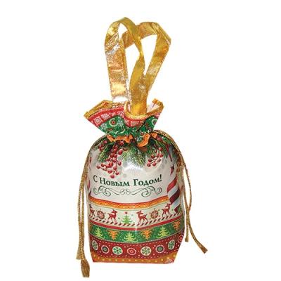 """Подарочная сумочка с двумя ручками """"ДЕКОР"""", текстильная новогодняя упаковка"""