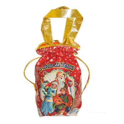 """Подарочная сумочка с двумя ручками """"ЗИМУШКА"""" красная, текстильная новогодняя упаковка"""