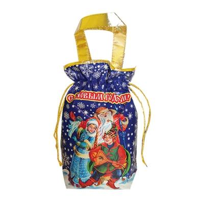 """Подарочная сумочка с двумя ручками """"ЗИМА"""", синяя, текстильная новогодняя упаковка"""