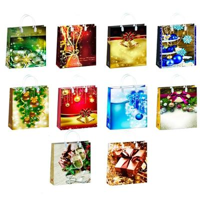 """Подарочные новогодние пакеты """"Микс НГ"""", L, 32х42 см, мягкий пластик, новогодняя упаковка"""