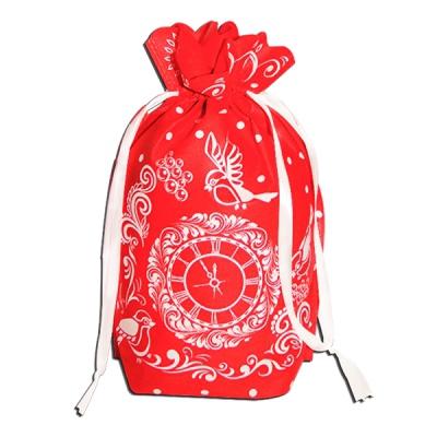 Подарочный мешок ЧАСИКИ красный 1300 гр, текстильная новогодняя упаковка