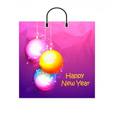 Новогодний подарочный пакет Неоновые шары 38х35 см., 100 мкм, новогодняя упаковка