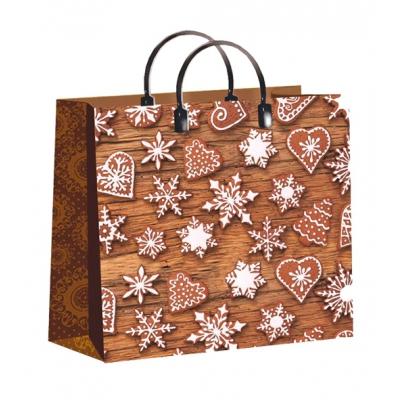 """Новогодний подарочный пакет """"Имбирный пряник"""", 30х30 см, 150 мкм, мягкий пластик, пластиковые ручки, новогодняя упаковка"""