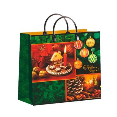 """Новогодний подарочный пакет """"Праздничные краски"""" 30х30 см, 150 мкм, мягкий пластик, пластиковые ручки"""
