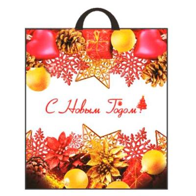 """Новогодний подарочный пакет """"Украшения"""" 38х42 см, 40 мкм, новогодняя упаковка"""