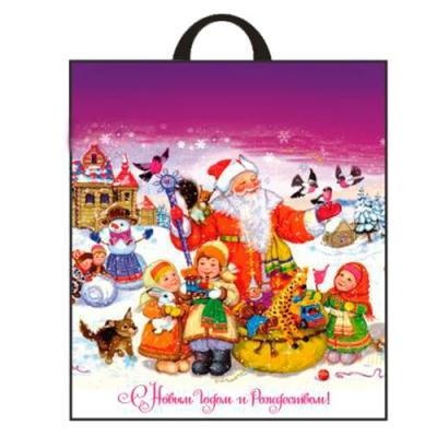 Новогодний подарочный пакет Детвора 38х42 см, 40 мкм, с петлевыми ручками, новогодняя упаковка