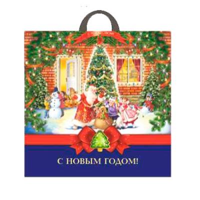 """Новогодний подарочный пакет """"Зимнее чудо"""" 44х44 см, 70 мкм, петлевые ручки, новогодняя упаковка"""