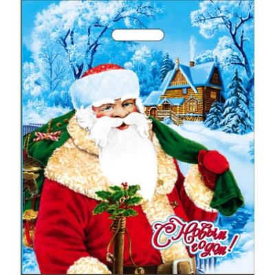 """Новогодний подарочный пакет """"Дедушка"""" 40х47 см, 45 мкм, с вырубными ручками, новогодняя упаковка"""