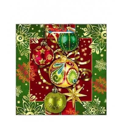 Подарочный пакет Новогоднее украшение 45х45 см, 70 мкм, с вырубными ручками, новогодняя упаковка