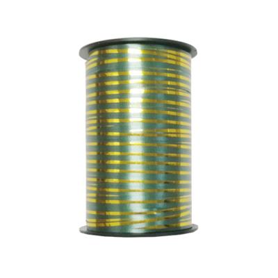 Лента подарочная с золотой полосой, зеленая 5мм/250м