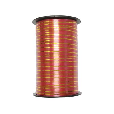 Лента подарочная с золотой полосой красная, 5мм/250м