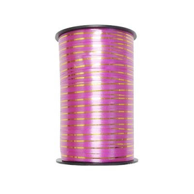 Лента подарочная с золотой полосой розовая, 5мм/250м