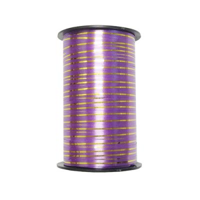 Лента подарочная с золотой полосой фиолетовая, 5мм/250м
