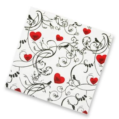 """Салфетки бумажные 2сл., 33х33, """"Орнамент с сердцем"""", 20шт."""