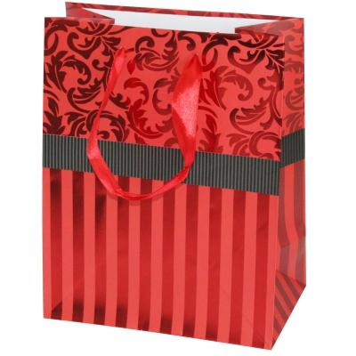 """Пакет подарочный """"Красный"""" тиснение, L"""