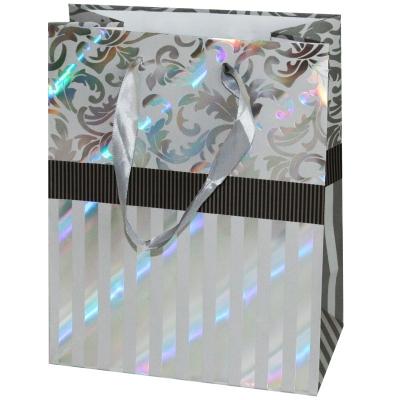 """Пакет подарочный """"Серебро"""" тиснение, L"""
