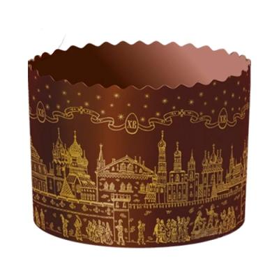 Бумажная форма для куличей ХРАМ Золото 70х85мм,120-150 гр