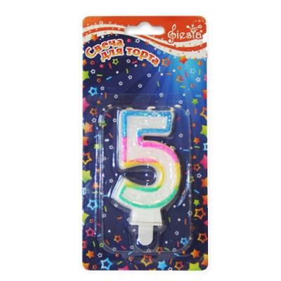 """Свеча для торта с блёстками """"Цифра 5"""" 0-9"""