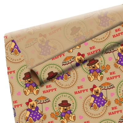 """Оберточная крафт-бумага """"Мишки"""" для упаковки подарков"""