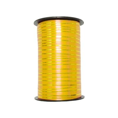 Лента подарочная с золотой полосой желтая, 5мм/250м