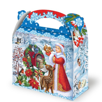 """Новогодняя упаковка """"Птички"""" 1500 гр, картонная подарочная коробка для конфет"""
