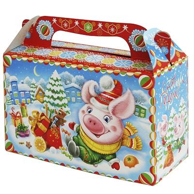 """Новогодняя подарочная коробка """"Настроение"""" 500 гр, новогодняя упаковка 2019 год свиньи"""