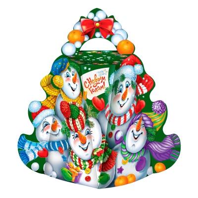 """Подарочная упаковка """"Малая Ёлка-Снеговики"""", 300 гр, картонная новогодняя коробка для конфет"""