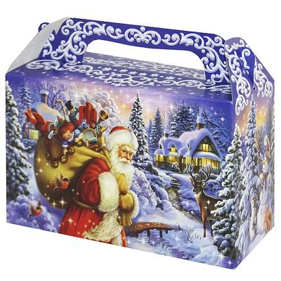 """Новогодняя упаковка """"Традиция"""" 500 гр, картонная подарочная коробка для конфет"""
