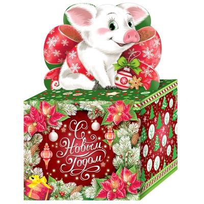 Новогодняя подарочная коробка «Подарочек» 800 гр, новогодняя упаковка 2019 с символом года свиньи