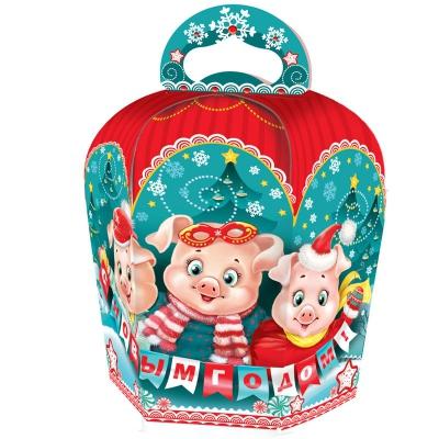 Новогодняя подарочная коробка «Три поросенка» 800 гр, новогодняя упаковка 2019 с символом года свиньи