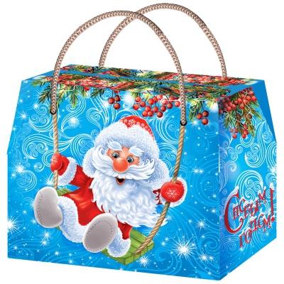 """Подарочная коробка """"Качели"""", 800 гр, картонная новогодняя упаковка для конфет, детских подарков"""